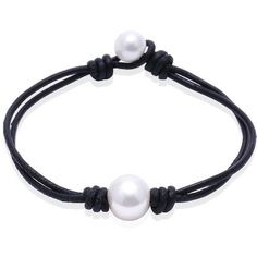 Ao Bei Single Cultured Freshwater Pearl Leather Bracelet Handmade... ($7.99) ❤ liked on Polyvore featuring jewelry, bracelets, leather bangles, freshwater pearl jewelry, pearl jewelry, cultured pearl jewelry and fresh water pearl jewelry