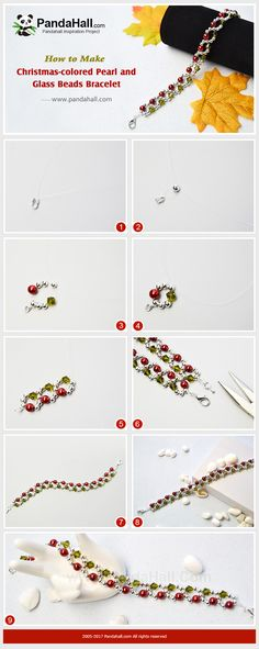 Christmas-colored Pearl and Glass Beads Bracelet - Today we will share with you how to make a easy beaded bracelet with the hoop patterns to celebrate the great festival. Handmade Wire Jewelry, Diy Crafts Jewelry, Bracelet Crafts, Beaded Bracelets, Beaded Jewelry Patterns, Bracelet Patterns, Christmas Jewelry, Diy Christmas, Bijoux Diy
