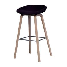 HAY - About a Stool AAS32 Bar Stool 75/86cm - black/frame soap treated oak wood/50x46x86cm
