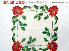 Vintage Christmas Handkerchief - Poinsettia Hankie w Red, Green & white - 1950's Scalloped Edge Hanky