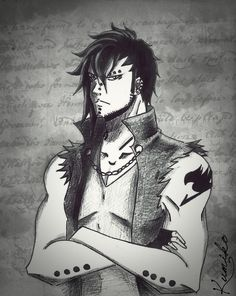 New Gajeel, with short hair!!! :3