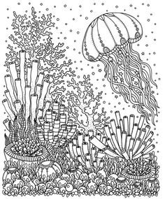angelfish - pdf zentangle coloring page - therapy coloring - under the sea - digital download