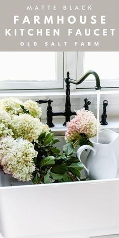 Black Farmhouse Kitchen Faucet #hydrangeas #kitchenfaucet #kingstonbrass #blackkitchen #blackfaucet #matteblackfaucet #farmhousekitchen #farmhousestyle #farmhousesink Modern Farmhouse Kitchens, Farmhouse Kitchen Decor, Black Kitchens, Home Decor Kitchen, Cool Kitchens, Farmhouse Style, Farmhouse Design, Kitchen Ideas, Kitchen Design