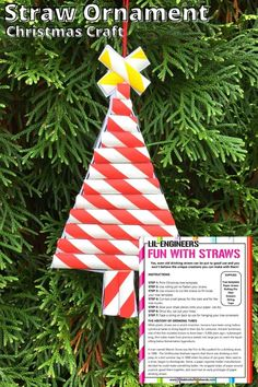 Here's a fun new way to create Christmas Ornaments using straws! These adorable Paper Straw Christmas Tree Ornaments are sure to be the star of your tree decorations this year. Christmas Tree Printable, Christmas Tree Template, Easy Christmas Ornaments, Lego Christmas, Reindeer Ornaments, Dough Ornaments, Christmas Ornament Crafts, Free Christmas Printables, Simple Christmas