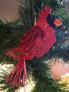 Cardinal Ornament Quilling christmas bird by joanscrafts on Etsy