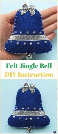 DIY Felt Jingle Bell Ornament Instructions - DIY Felt Christmas Ornament Craft Projects [Picture Instructions]