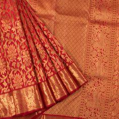 Handloom Red Pure Zari Jacquard Bridal Kanjivaram Tissue Silk Saree With Floral Motifs 10017395 - AVISHYA.COM