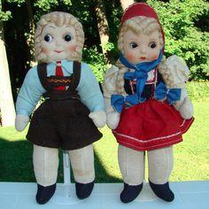 Two Vintage Cloth Doll Lot Boy Girl in German Costuming Googly Eyes #Dolls