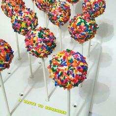 Rainbow sprinkle cake pops