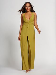 cf92e772 Chartreuse Halter Jumpsuit - Gabrielle Union Collection. New York & Company