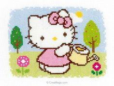 Broderie modele point de croix hello kitty au printemps de Vervaco