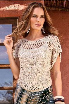 O #crochê de grampo fica lindo em peças.