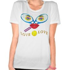 Active Wear Funny Tennis Shirts for Women XS-4XL with Cute Racquet and Tennis Balls Face and pretty Red Lips putting on Lipstick. This design is on other Cute and Funny Tennis Gifts by Little Linda Pinda. ALL of our Personalized Tennis Gifts can be seen by CLICKING HERE: http://giftsforcreativepeople.com/Personalized-Tennis-Gifts-CLICK-HERE ALL of Little Linda Pinda Designs CLICK HERE: http://www.Zazzle.com/LittleLindaPinda*/  Select from 126 styles of Shirts. Cute Tennis Shirts.