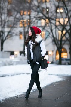 Snow Day :: Asymmetric sweater: Top :: Helmut Lang vest, Marissa Webb sweater Bottom :: Citizens of Humanity Shoes :: Rag & Bone Bag :: Rebecca Minkoff Accessories :: random red beanie, Stila 'Fiery' lipcolor
