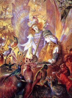 """John Anster Fitzgerald, """"The Concert"""" There was often a rivalry between birds and fairies in the works of Victorian artists but here they all seem to get along well."""