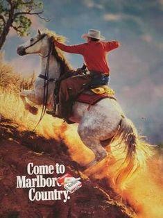 Marlboro Cowboy, Marlboro Man, Vintage Advertisements, Vintage Ads, Vintage Posters, Vintage Stuff, Cowboy Images, Cowboy Pictures, Cowboy Horse