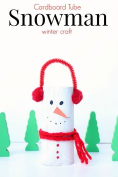 cardboard tube snowman winter craft for kids