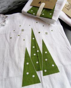 Winter Evergreen Retro Tea Towel Christmas Trees Falling Snow Flour Sack Dish Cloth Kitch Kitsch. via Etsy.