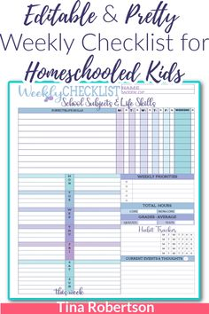 Editable and Pretty Weekly Checklist for Homeschooled Kids packs a lot of options on this one beautiful page. There are two color schemes with this one download. If you're wanting to homeschool plan skinny or are looking for another option of lesson planning page to your homeschool planner you'll love this weekly checklist for your homeschooled child. Check it out at Tina's Dynamic Homeschool Plus! Curriculum Planner, Student Planner, Homeschool Curriculum, Kindergarten Worksheets, Worksheets For Kids, Core Learning, High School Hacks, School Week, Weekly Planner Printable