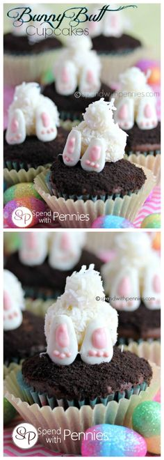 Cute little bunny tooshies top your favorite chocolate cupcakes! These are easy to put together and the perfect Easter Cupcake for any get together!