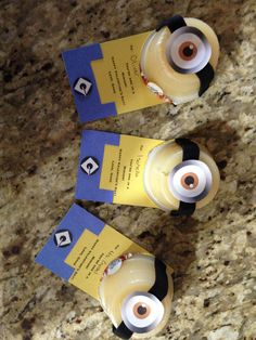 Minion valentines I made. Healthy pre-packaged applesauces transformed into cute minion valentine cards for preschool class. Super easy and they turned out great!