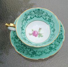 Royal Bayreuth Rose/Pastel Green Tea Cup/Saucer Set-Bavaria
