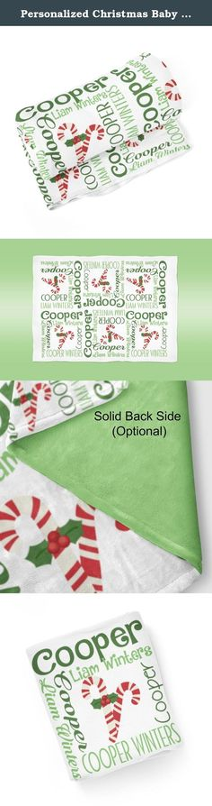 Personalized Christmas Baby Name Blanket 16 - Green Red Candy Cane Name Swaddling Blanket Photo Prop. 1 Personalized Baby Blanket - makes a great Baby Gift ~ I Design and Customize, You Give the Perfect Gift!~ My Personalized Baby is perfect for a new mom or mom to be! Wrap your precious baby, with a warm embrace, in this soft and cuddly blanket. Savor those close moments with your sleeping baby, as they relax in the warm comfort of the blanket in your arms. Give a child you love, the…