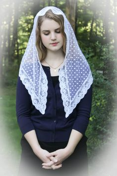 Evintage Veils~ Our Lady of Light Pure White Traditional Catholic Lovely Vintage…