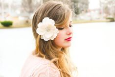 Ivory silk hand pressed flower for the minimalistic simple wedding hairstyle