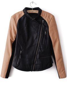 Black Contrast Long Sleeve Zipper PU Jacket - Sheinside.com