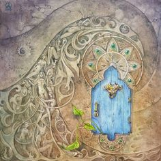 Here's another enchanted little doorway. #Watercolor #painting #art #shadowscapes #door #doorway #enchanted #enchantment #fairy #faery…