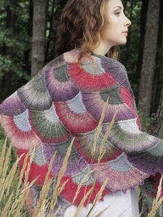 """Купить Шаль вязаная """"Ипомея"""" утренняя - шаль из шерсти, разноцветный, вязаная косынка, шаль спицами"""