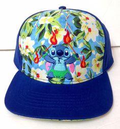 9168b3e8cc0 htf Lilo   STITCH LUAU FIRE DANCE SNAPBACK HAT Blue Floral Polynesian Men  Women  Disney