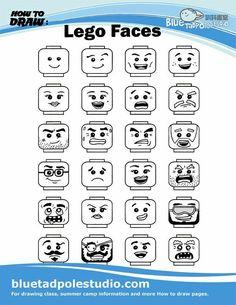 Learn To Draw Blue Tadpole Studio - How to draw Lego Minecraft, Minecraft Skins, Minecraft Buildings, Lego Disney, Pokemon Lego, Lego Faces, Art For Kids, Crafts For Kids, Lego Club