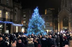 The Christmas tree is switched on in St Helen's Square, York.