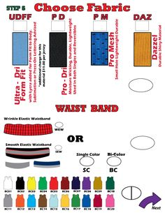 MVP Fabrics and Waist Band Options