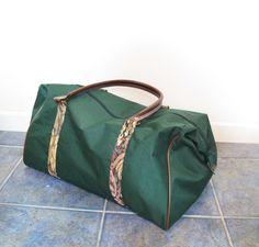 80s 90s Green Tapestry Weekender Bag Carryon by honeymoonmuse, $34.00