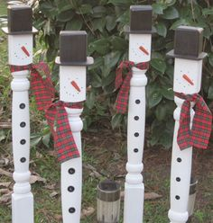 Listing is for one (4)... Adorable Snowman made from a wooden railing spindle. How cute to line a walkway or entrance. So easy to stake into