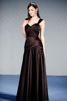 Straps trumpet / mermaid with ruffle embellishment satin bridesmaid dress