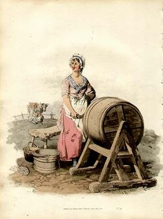 """Woman Churning Butter"", by William Henry Pyne, published by Williams Miller, British, 1808."