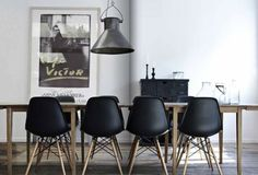 Eames dining chairs, industrial light, large print...