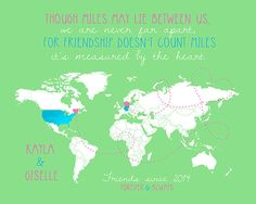 Friend Gifts, Customized World Map for Friend Living Far Away, Germany, USA, Europe, Asia, Africa, Australia, Long Distance Friends