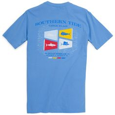 Southern Tide Catch Flags T-Shirt in Cool Water