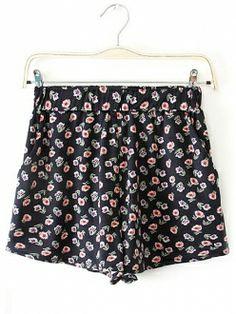 Black Floral High Elastic Waisted Cotton Short Pants