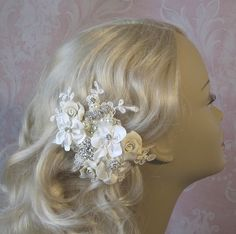 Ivory Fascinator Bridal Fascinator Hair Flowers by TheRedMagnolia, $79.00