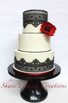 Red Poppy and Black Lace - Shani's Sweet Creations