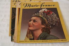 Set of 4 fashion magazines Marie Claire, Paris summer and fall 1946 French fashion news, dresses, skirts, knitting, patterns, advices