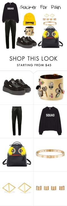 """Sucker For Pain"" by anaelle2 ❤ liked on Polyvore featuring Puma, Alexis Bittar, Prabal Gurung, Fendi, Cartier, Arme De L'Amour and Maison Margiela"