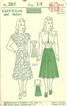 An Emergency Bolero (Pauline Pattern 2217, c. 1940s)
