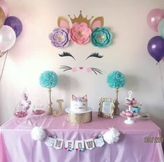 Whimsical Shabby Chic Cat Themed Birthday Party on Kara's Party Ideas . Jul Whimsical Shabby Chic Cat Themed Birthday Party on Kara's Party Ideas Cat Themed Parties, Unicorn Birthday Parties, First Birthday Parties, Birthday Party Decorations, Kitty Party Themes, Birthday Ideas, Paris Birthday, Girl Birthday Party Themes, Birthday Banners